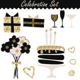 Negro de la celebración y objetos determinados del cumpleaños de la moda del oro libre illustration