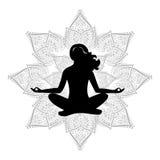 Negro de la flor de la yoga Imagen de archivo