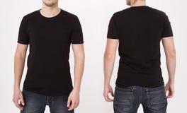 Negro de la plantilla de la camiseta Visión delantera y trasera Mofa para arriba aislada en el fondo blanco foto de archivo