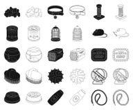Negro de la tienda de animales, iconos del esquema en la colección determinada para el diseño Las mercancías para los animales ve stock de ilustración
