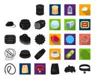 Negro de la tienda de animales, iconos planos en la colección determinada para el diseño Las mercancías para los animales vector  ilustración del vector
