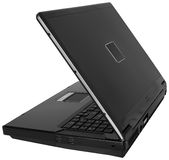 ~ negro de la vista lateral del ordenador portátil aislado en pizca Imágenes de archivo libres de regalías