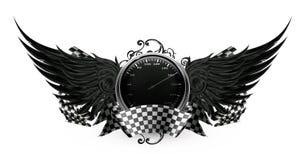 Negro de las alas, compitiendo con el emblema Foto de archivo libre de regalías