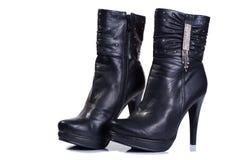 Negro de las botas de las mujeres Imágenes de archivo libres de regalías