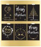 Negro de las tarjetas de Navidad y estilo del oro Fotos de archivo