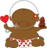 Negro de las tarjetas del día de San Valentín del bebé Fotos de archivo libres de regalías