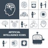 Negro de los iconos de la inteligencia artificial Imagen de archivo libre de regalías