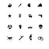 Negro de los iconos de la protesta en blanco Imágenes de archivo libres de regalías