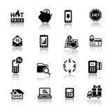 Negro de los iconos de las compras con la reflexión Fotos de archivo libres de regalías