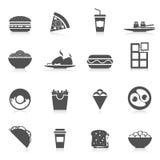Negro de los iconos de los alimentos de preparación rápida Fotografía de archivo libre de regalías