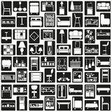 Negro de los iconos de los muebles Imagenes de archivo
