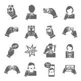 Negro de los iconos de Selfie stock de ilustración