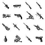 Negro de los iconos del arma Foto de archivo libre de regalías
