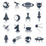 Negro de los iconos del espacio Fotos de archivo libres de regalías