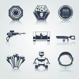 Negro de los iconos del juego del espacio ilustración del vector