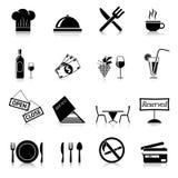 Negro de los iconos del restaurante Fotografía de archivo