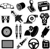 Negro de los iconos del servicio del coche Fotos de archivo