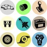 Negro de los iconos del servicio del coche Fotos de archivo libres de regalías
