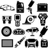 Negro de los iconos del servicio del coche Imagen de archivo
