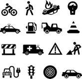 Negro de los iconos del tráfico en blanco Imagen de archivo