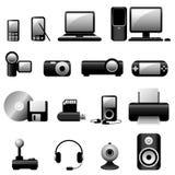 Negro de los iconos del vector de los multimedia Imagen de archivo libre de regalías