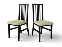 Negro de madera de la silla con un asiento de la tela Imagen de archivo libre de regalías