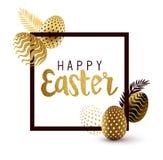 Negro de Pascua y diseño felices del oro Fotos de archivo libres de regalías