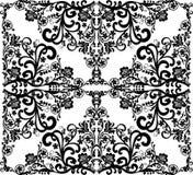 Negro del cuadrado en el diseño floral blanco stock de ilustración