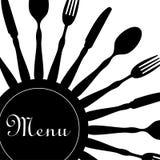 Negro del diseño del menú del restaurante Fotos de archivo