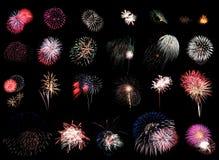 Negro del espectáculo grandioso de los fuegos artificiales Imagen de archivo