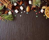 Negro del fondo del Año Nuevo o de la Navidad, espacio para el texto Foto de archivo