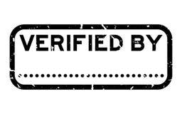Negro del Grunge verificado por palabra con la línea del punto para el sello de goma cuadrado de la firma en el fondo blanco fotos de archivo libres de regalías