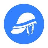 Negro del icono de Helmet del bombero Solo icono del equipo del fuego de la silueta del negro grande del cuerpo de bomberos Fotografía de archivo