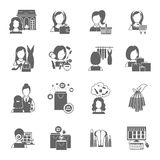 Negro del icono de las compras de la mujer stock de ilustración