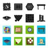 Negro del juego de mesa, iconos del flet en la colección del sistema para el diseño El juego y el entretenimiento vector el ejemp Imagen de archivo libre de regalías