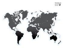Negro del mapa del mundo Imagenes de archivo