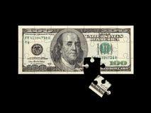Negro del rompecabezas del dólar Fotografía de archivo libre de regalías