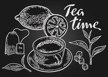 Negro del tiempo del té Foto de archivo libre de regalías