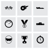 Negro del vector que compite con los iconos fijados Foto de archivo libre de regalías