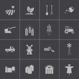 Negro del vector que cultiva los iconos fijados Fotos de archivo libres de regalías