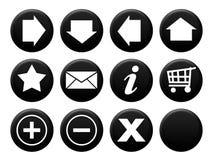 Negro determinado del botón Fotos de archivo
