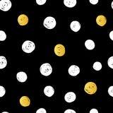 Negro dibujado mano abstracta del vector, oro, polca blanca Dot Pattern With Fun Circles de la tinta Grande para la tela del vint Fotos de archivo libres de regalías