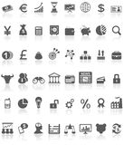 Negro financiero de la colección de los iconos en blanco Foto de archivo libre de regalías