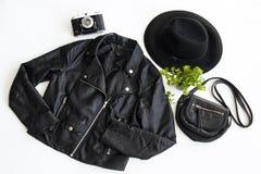 Negro flatlay de la moda Foto de archivo libre de regalías
