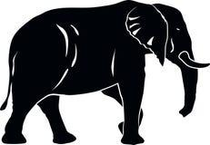 Negro grande de la silueta del elefante stock de ilustración