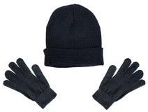 Negro hecho punto sirve la gorrita tejida y guantes del sombrero en un fondo blanco stock de ilustración