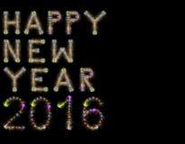 Negro horizontal chispeante colorido de los fuegos artificiales de la Feliz Año Nuevo 2016 Fotos de archivo