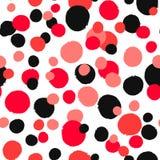 Negro inusual de Dots Pattern Painted Red White Imagenes de archivo