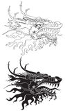 Negro principal y blanco del dragón Foto de archivo