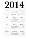 Negro simple del calendario 2014 españoles imágenes de archivo libres de regalías